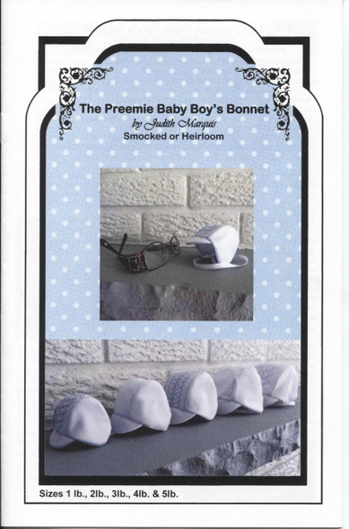 Preemie Baby Boy's Smocked Bonnet pattern by Judith Marquis
