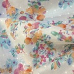 Peach and Pink floral cut spot 100% cotton fabric 147 cm wide
