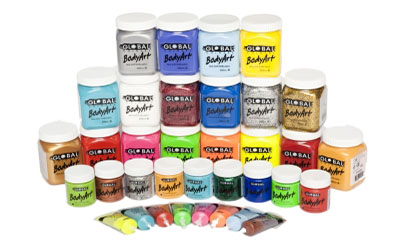 Global Colours Face and Body Paint in 15ml tube, 45ml and 200ml jars.