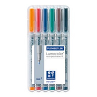 Staedtler Lumocolor Non Permanent Fine - Box of 6 Colour (0.6mm)