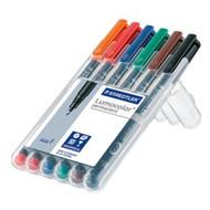 Staedtler Lumocolor Permanent Fine - Box of 6 Colour (0.6mm)