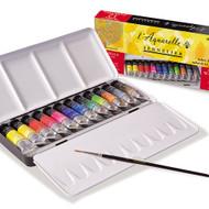 Sennelier Watercolour Metal Box - 12 Tubes + 1 Brush
