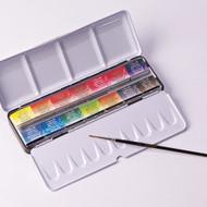 Sennelier Watercolour Metal Box - 14 Full Pans + 1 Brush