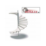 White Polystyrene Spiral Stairs with Middle Pole - 1:100