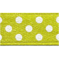 Polka-Dot Satin Ribbon - Olive Green with White Dots