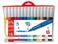 Fancolor Fibre-Tipped Pen Maxi Assort. 15 Plastic Wallet   |  195.715