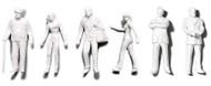 Preiser Unpainted Detailed Walking Figures - 1:200