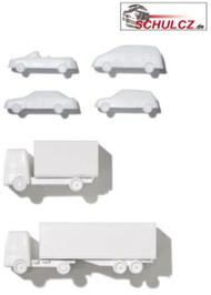 Polystyrene Cars White- 1:100