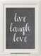 Product image of Live Laugh Love Chalk Print