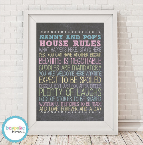 Product image of Personalised Grandparents' Rules Print