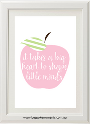It Takes A Big Heart Pastel Apple Print