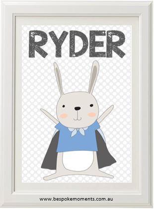Product image of Superhero Rabbit Name Print