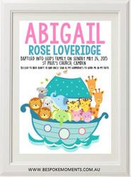 Girl's Noah's Ark Christening Print