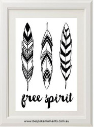 Free Spirit Feather Monochrome Print