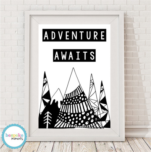 Product image of Adventure Awaits Tribal Monochrome Print