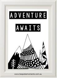 Adventure Awaits Tribal Monochrome Print