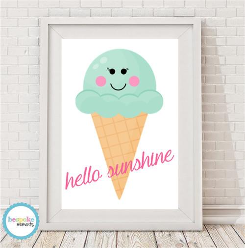 Product image of Hello Sunshine Ice Cream Cone Print
