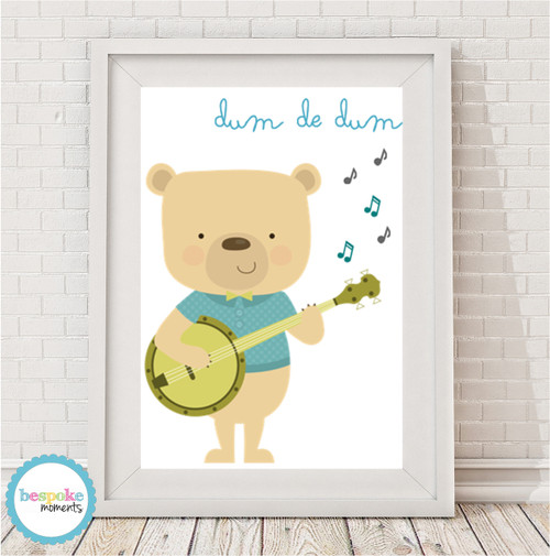 Product image of Let There Be Music Banjo Bear Print