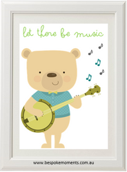 Let There Be Music Banjo Bear Print