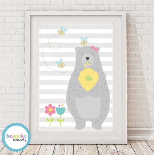 Product image of Honey Bear Girl Print