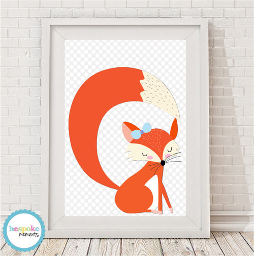 Product image of Cute Sleepy Fox Girl Print