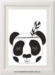 Monochrome Sleepy Panda Print