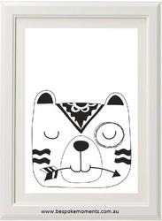 Monochrome Sleepy Bear Print
