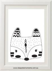 Monochrome Tribal Fox Print