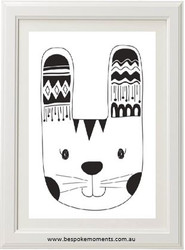 Monochrome Tribal Bunny Print