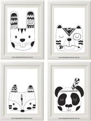 Monochrome Tribal Animals Set of 4