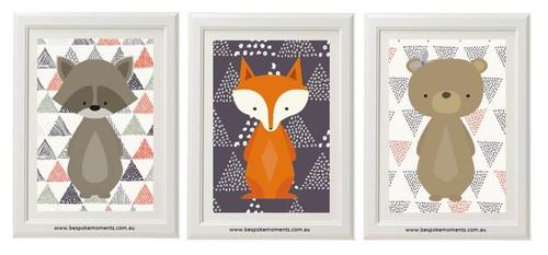 Woodland animal nursery print set of 3.