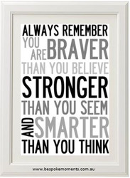 You Are Braver Print - Black/Blue