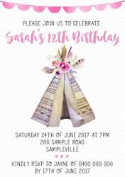 Boho Babe Birthday Invitation