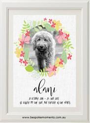 Pet Memorial Print - Floral Dog