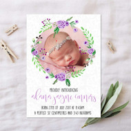 Pack - Floral Lilac Baby Announcement Card