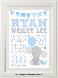 Blue Elephant Birth Print