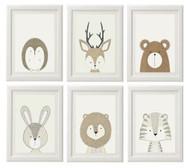 Gender Neutral Animal Prints - Set of 6