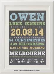 Boys' Chalk Birth Print