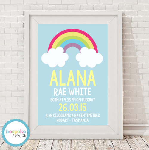 Product image of Rainbow Cloud Birth Print