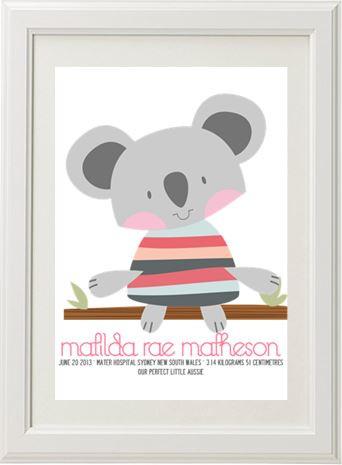 Koala Birth Print