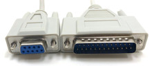 Serial Modem Cable DB9F to DB25M - 10ft