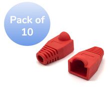 SNAGLESS CABLE BOOT CAT5 RED-10 PACK