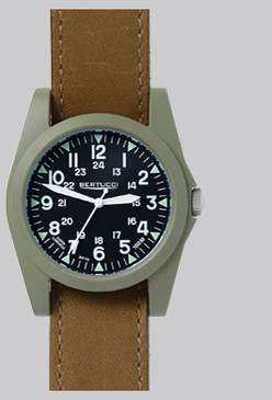 Sportsman black dial w/ olive case- Duration  leather band