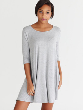 Piko 3/4 Sleeve Trapeze Dress- Heather Gray