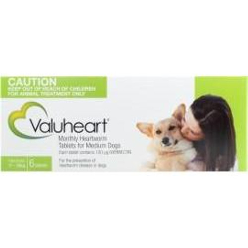 Valuheart Monthly Heartworm Tablets for Medium Dogs 23-44 lbs - Green 6 Pack