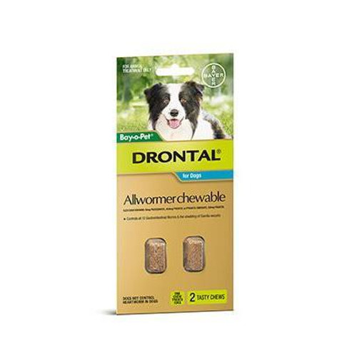 Drontal Allwormer Chewable for Dogs up to 22 lbs - 2 Pack