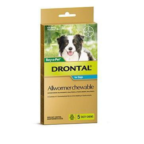 Drontal Allwormer Chewable for Dogs up to 22 lbs - 5 Pack