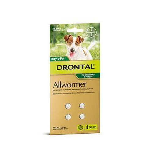 Drontal for Small Dogs & Puppies up to 6.5lbs - 4 Pack