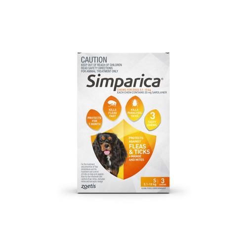 Simparica For Small Dogs 11-22lbs (5.1-10kg) - 3 Chews