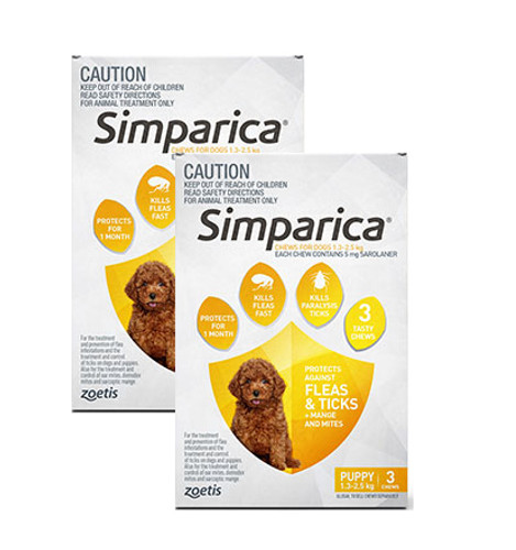 Simparica For Small Dogs & Puppies 3-6lbs (1.3-2.5kg) - 6 Chews